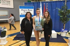 Pictured left to right: Kim Genton (director),  Mya, winner of the 2019 Sr B Athlete of the Year award, and Catherine Lemyre (coach) at the Ontario Provincial Championships.