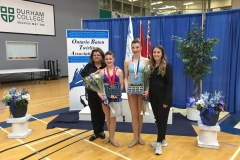 Pictured left to right: Kim Genton (director) Elsie, winner of the 2019 Jr A Athlete of the Year award, Mya, winner of the 2019 Sr B Athlete of the Year award, and Catherine Lemyre (coach) at the Ontario Provincial Championships.